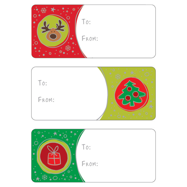 Holiday Icon Spots Gift Labels Pkg/36