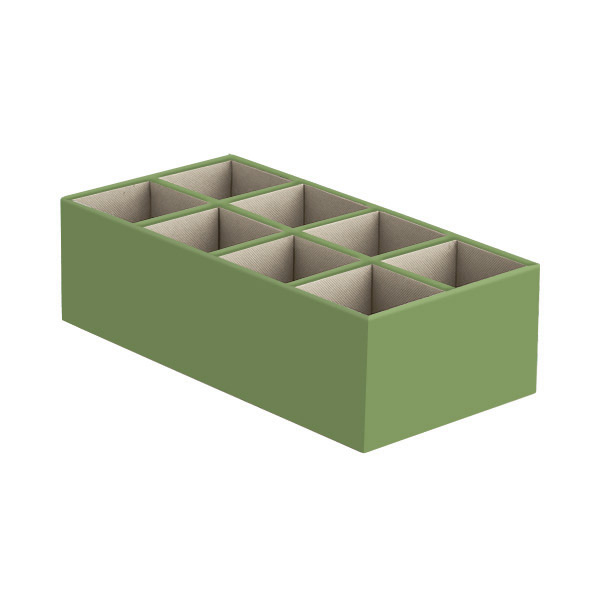 Narrow 8-Section Drawer Organizer Verde
