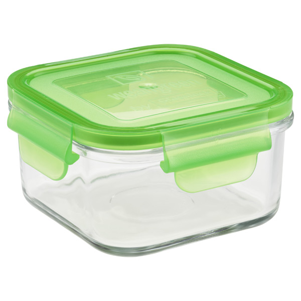 16.5 oz. Glass Container Square Green Lid