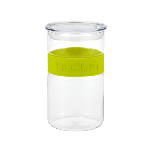 1 qt. Presso Glass Canister Green Band