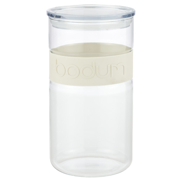 2.1 qt. Presso Glass Canister White Band