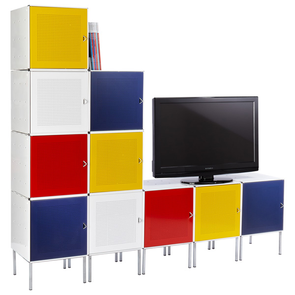 QBO® Mondrian Steel Cube Media Center Enameled