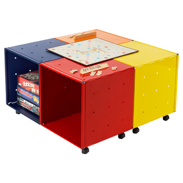 QBO® Steel Cube Kid's Game Table Enameled