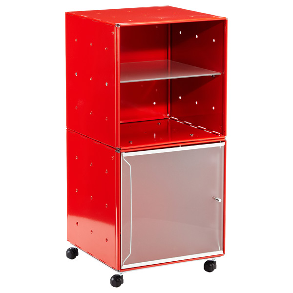 QBO® Steel Cube Bedside Table Enameled Red