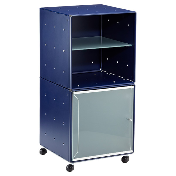 QBO® Steel Cube Bedside Table Enameled Blue