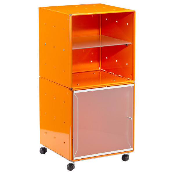 QBO® Steel Cube Bedside Table Enameled Orange