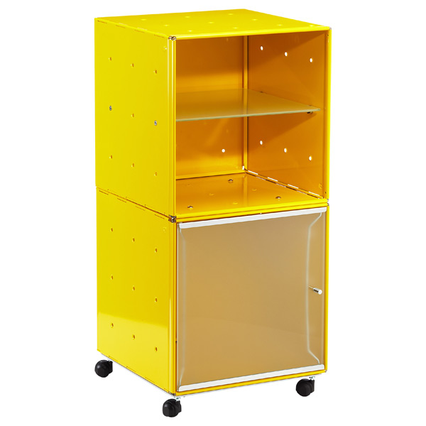 QBO® Steel Cube Bedside Table Enameled Yellow