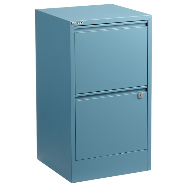 bisley blue 2 3 drawer locking filing cabinets the container store rh containerstore com 2 drawer filing cabinet on wheels 2 drawer filing cabinet with lock