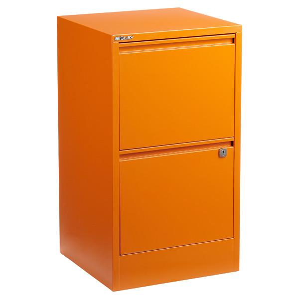 bisley orange 2- & 3-drawer locking filing cabinets | the