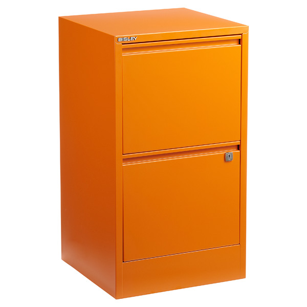 Bisley 2 Drawer Locking Filing Cabinet Orange