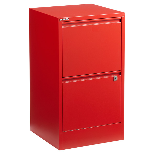 bisley red 2- & 3-drawer locking filing cabinets | the container store
