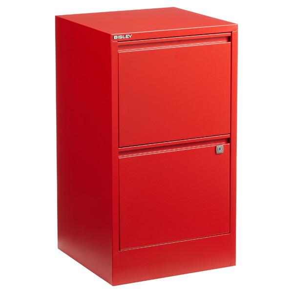 Bisley Red 2 3 Drawer Locking Filing Cabinets