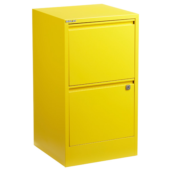 bisley 2drawer locking filing cabinet yellow