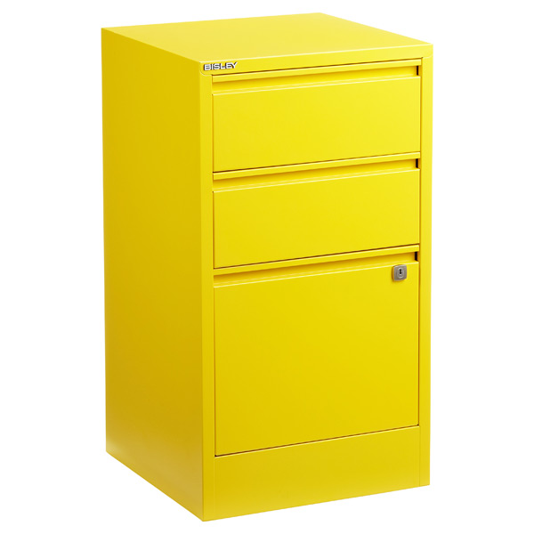Bisley 3-Drawer Locking Filing Cabinet Yellow