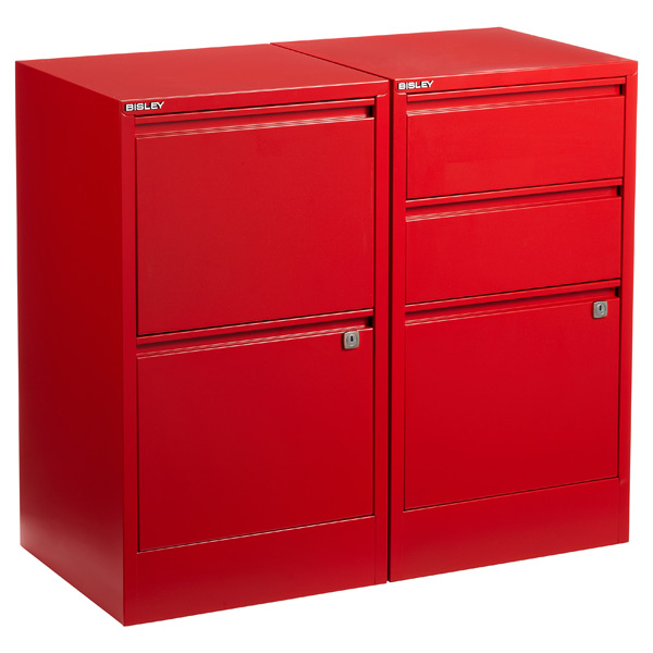 Red Bisley® 2- & 3-Drawer File Cabinets