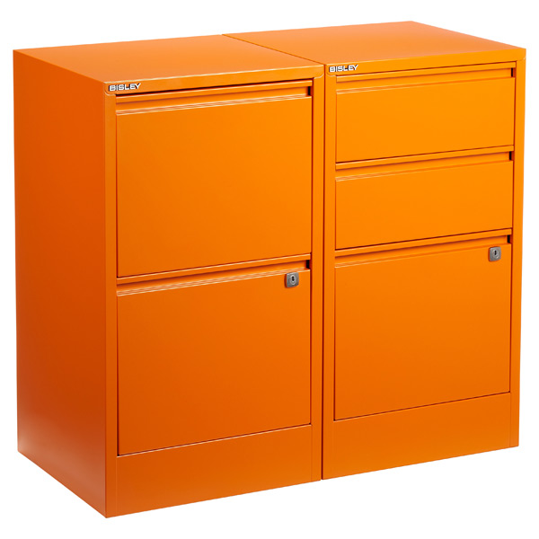 Orange File Cabinets ...  sc 1 st  The Container Store & Bisley Orange 2- u0026 3-Drawer Locking Filing Cabinets | The Container ...