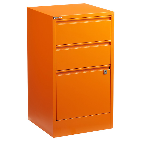 bisley orange 2 3 drawer locking filing cabinets the container store. Black Bedroom Furniture Sets. Home Design Ideas