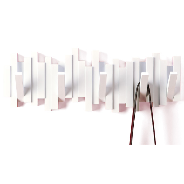 umbra white sticks multi hook rack the container store. Black Bedroom Furniture Sets. Home Design Ideas