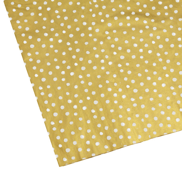 Dots Tissue Sheets Gold & White Pkg/4