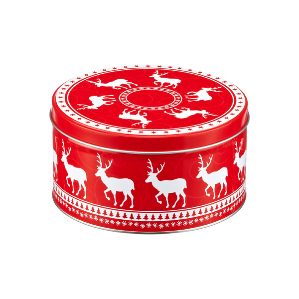 Small Round  Deer Tin Red/White
