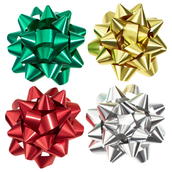 Metallic Bows 4 Assorted Colors Pkg/18