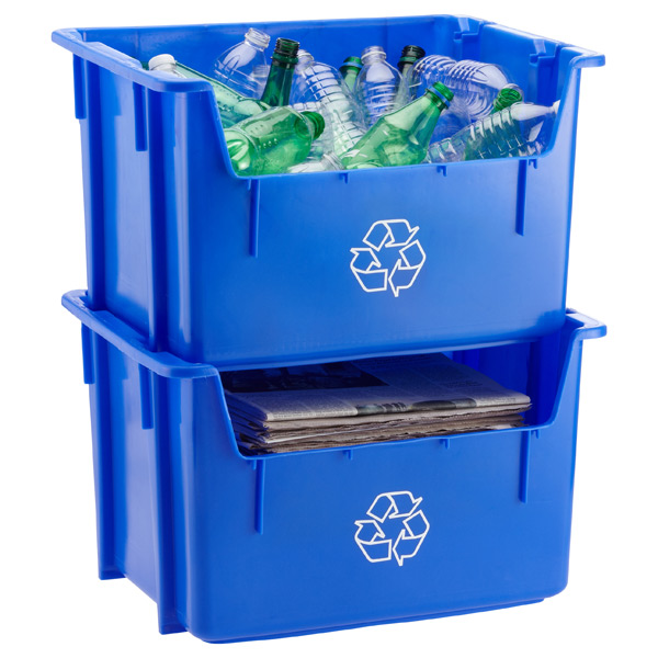 Blue 12 gal Stackable Recycle Bin The Container Store