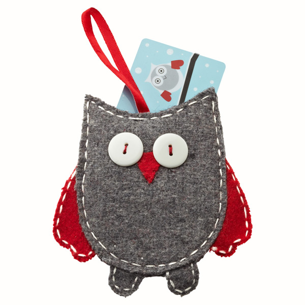 Owl Gift Card Holder Grey