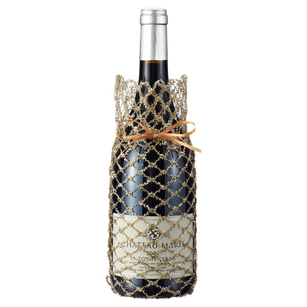 Bottle Sack Tinsel Lattice Gold