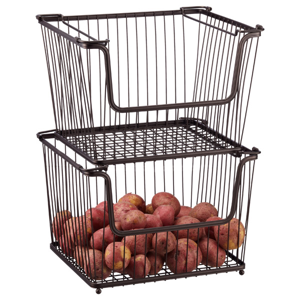 Large Basket - Large Bronze York Open Stackable Basket | The Container ...