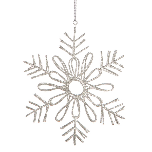 Tie-on Glitter Wire Snowflake Silver