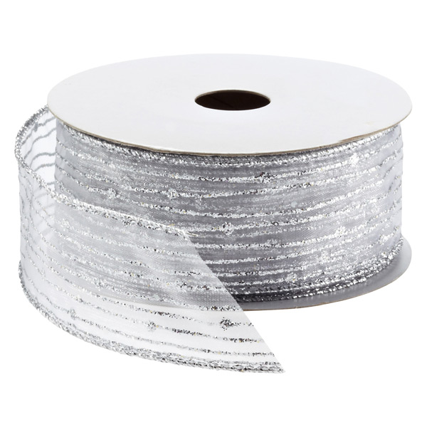 Ribbon Wired Sheer Glitter Lines Silver