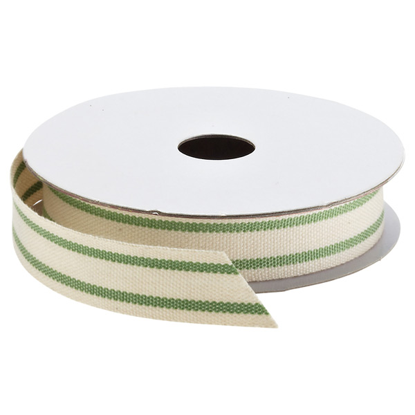 Striped Cotton Ribbon Natural/Green