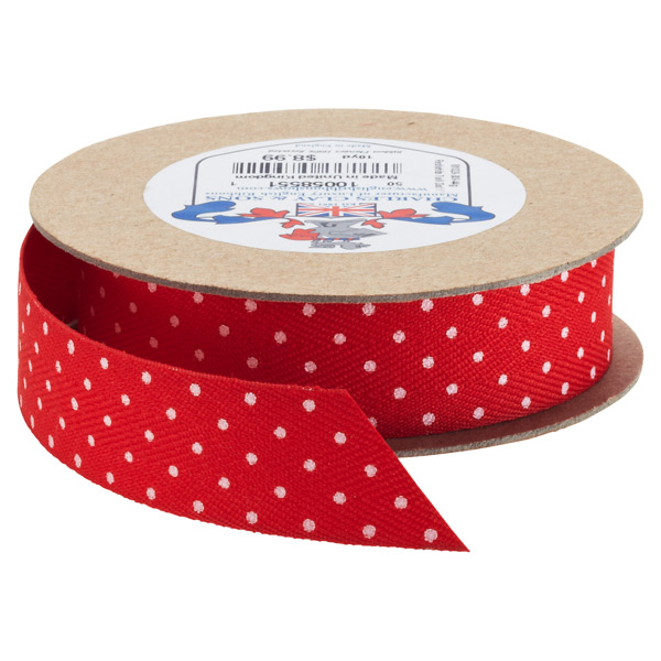 Ribbon Twill Dot Red/White