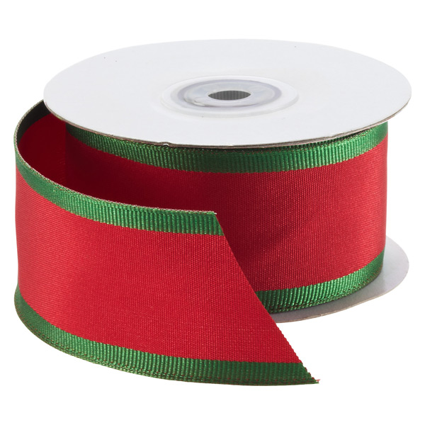 Ribbon Wired Red with Green Edge