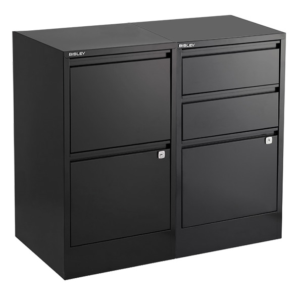 bisley black 2- & 3-drawer locking filing cabinets | the container