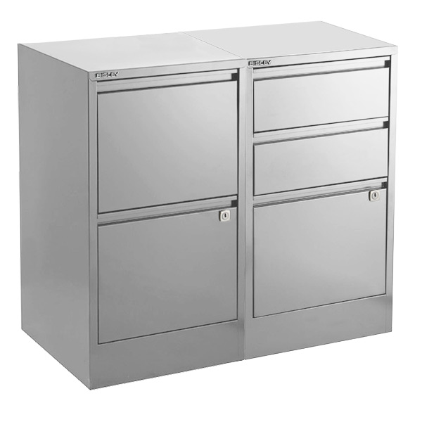 Silver File Cabinets ...  sc 1 st  The Container Store & Bisley Silver 2- u0026 3-Drawer Locking Filing Cabinets | The Container ...