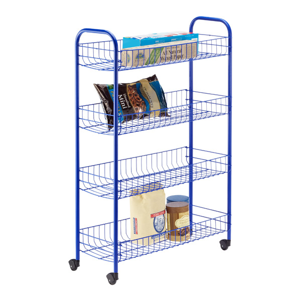 4-Tier Slim Rolling Cart Blue