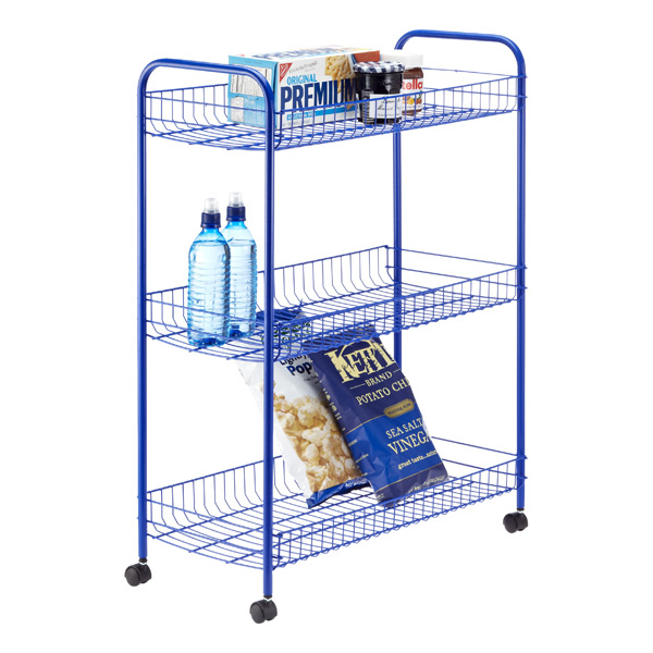 3-Tier Grande Rolling Cart Blue