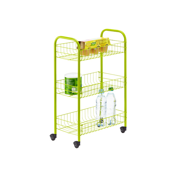 3-Tier Siena Rolling Cart Green