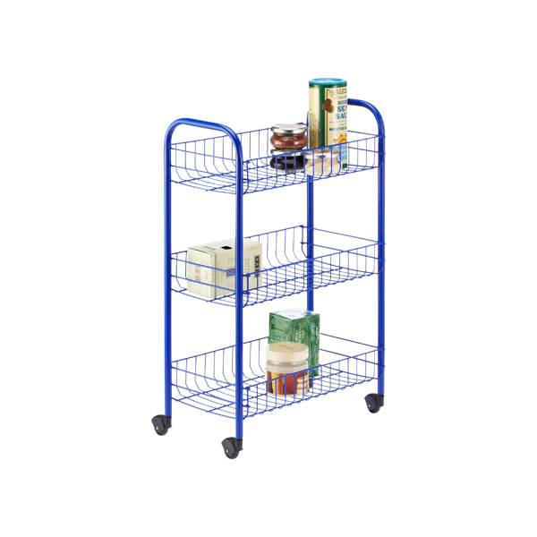 3-Tier Siena Rolling Cart Blue