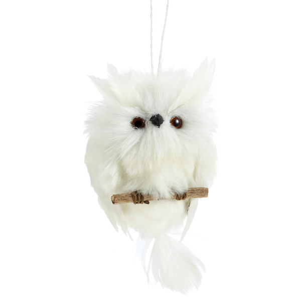 Tie-on Feathered Owl White