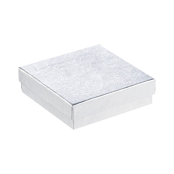 "3-1/2"" sq. x 1"" h Jewelry Gift Box Silver"