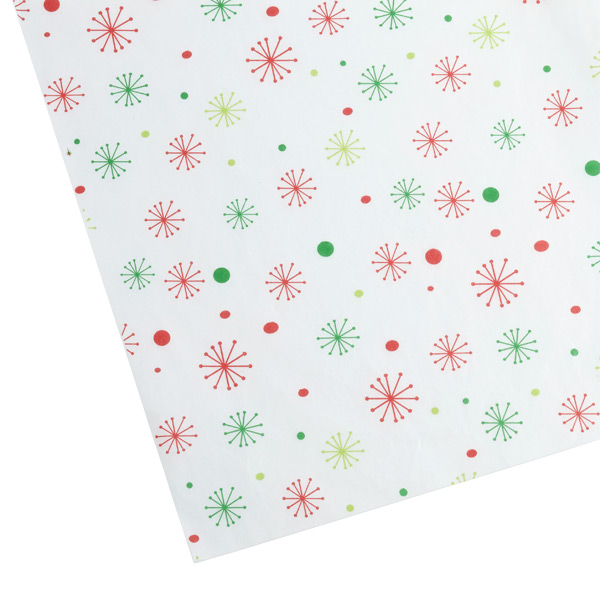 Snowflakes Waxed Tissue Sheets Red & Green Pkg/20