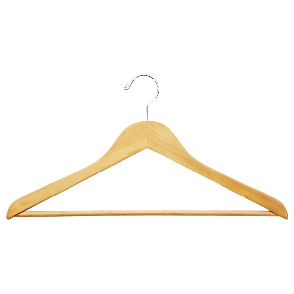 Case of 36 Basic Shirt Hangers with Bars Natural