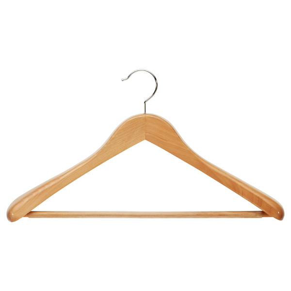 ... Superior Oversized Coat Hanger With Ribbed Bar Natural