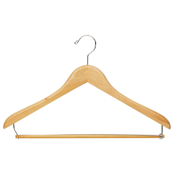 Premium Hanger with Trouser Bar Natural