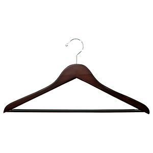 Basic Shirt Hanger with Ribbed Bar Walnut Pkg/6