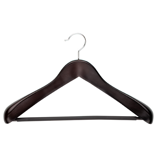Superior Coat Hanger with Ribbed Bar Walnut