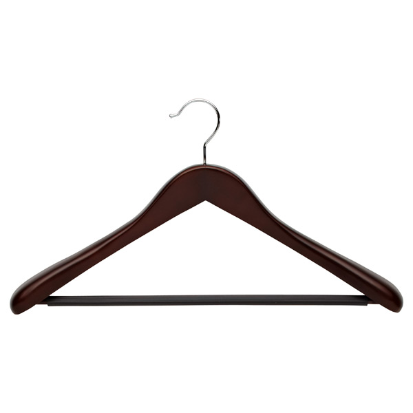 Superior Oversized Coat Hanger with Ribbed Bar Walnut
