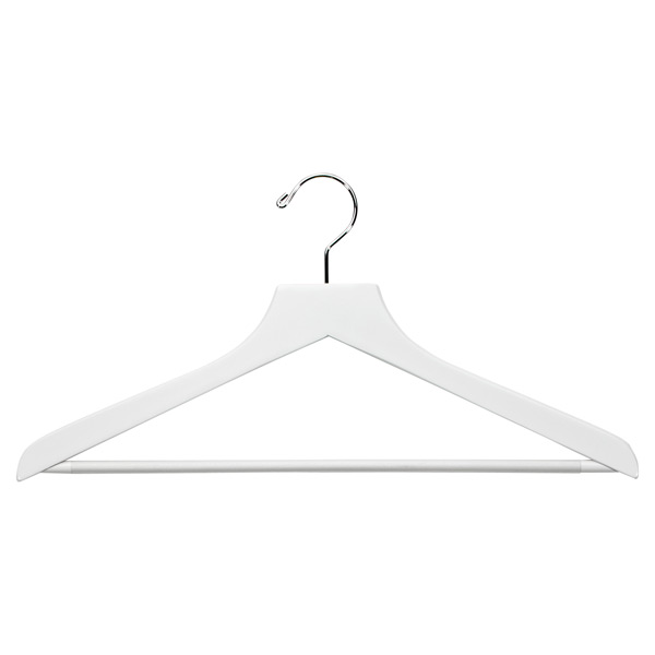 Basic Shirt Hanger with Ribbed Bar White Pkg/6